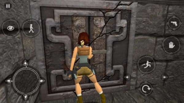 Lara hitting a switch
